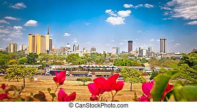 nairobi, vista, kenia., panorámico