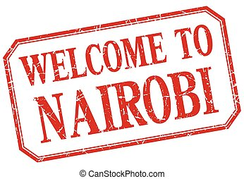 Nairobi - welcome red vintage isolated label