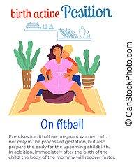 naissance, aide, homme, actif, femme enceinte, position, ...