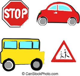 Naive car and bus - Four naive illustrations of a car, a bus...