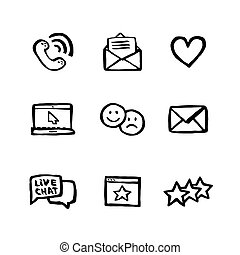 Naive style icon set. Call center concept. Customer service chat. Doodle ink style Set of testimonials related vector hand drawn line icons. Contains such Icons as rating, feedback, review, emotion.