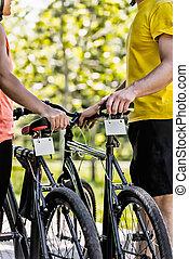 najem, para, bicycles, młody