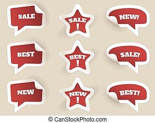 najlepszy, labels., sprzedaż, nowy, czerwony