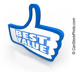 najlepszy, wartość, kciuk do góry, górny, ofuknięcie, karb, jakość