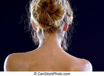Naked back woman. Nude shoulders girl. - Backlight...