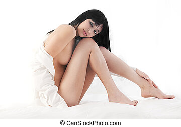 Naked beauty - Beautiful Eurasian woman naked on bed, white...