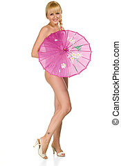 naked beauty woman with ambrella