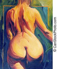 Naked female back torso
