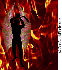 Naked Female Silhouette with Cutlass Sword on flame background.