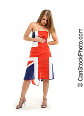 british - naked girl covered with british flag
