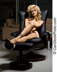black chair - naked girl in black chair