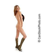naked girl in snakeskin boots with hat - lovely naked girl...