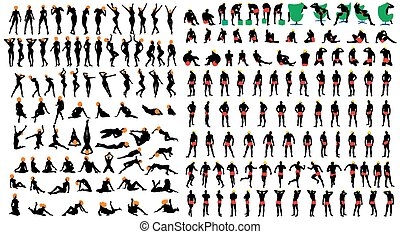 Naked girls and men silhouette set