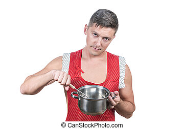 Naked man in an apron with pan