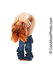 naked redhead in blue jeans over white - picture of naked...