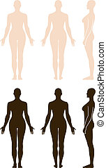 Naked standing woman silhouette