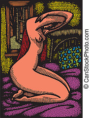 naked woman like form piccaso - illustrated naked woman like...