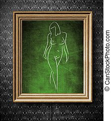 Naked woman sketch chalkboard in old wooden frame