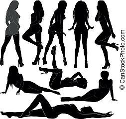 naked women - silhouette naked women