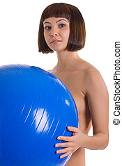 naked women with blue ball