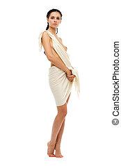 naken, grek, stil, womanstående