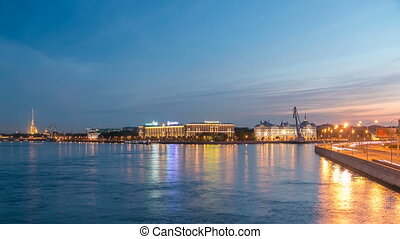 Nakhimov Naval School and the Peter and Paul Fortress, the view from the Liteyniy bridge without Aurora day to night timelapse. St. Petersburg