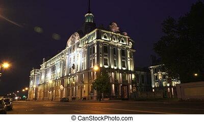 Nakhimov naval school in St. Petersburg. Night. 4K. -...