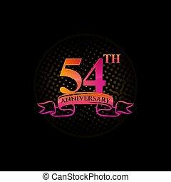 naklejona etykietka, 54, koło, logo, pamiątkowy, rocznica, to, year., liczba, 54th