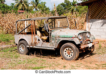 Nakornratchasima, Thailand - 11 November: Picture of an American historical Jeeps of Old Car Rangers club on November 11, 2011. It is part of  of war in Vietnam in 1955-1975.