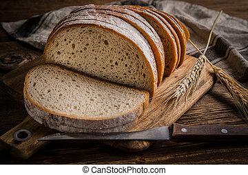 nakrájený, board., bochník, rozvlněný, bread