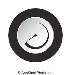 nakręcać, symbol, -, okrągły, czarnoskóry, biały guzik, ikona