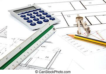 nakreslit plán, jako, architektura