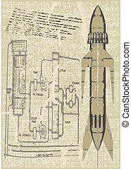 nakreslit plán, raketa