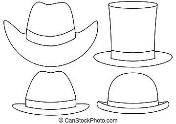 nakreslit umění, temný i kdy běloba, klobouk, dát, 4, pralátka
