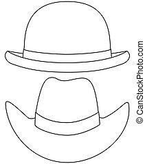 nakreslit umění, temný i kdy běloba, klobouk, dát