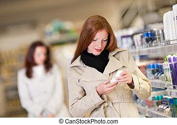 nakupování, řada, -, červené šaty vlas, manželka, buying, deodorant