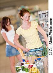 nakupování, řada, -, červené šaty vlas, manželka, s, kára
