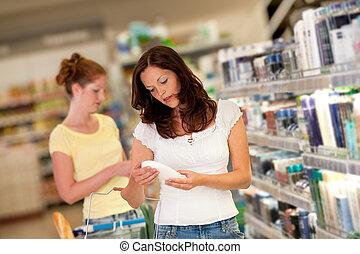nakupování, řada, -, opálit se vlas, manželka, do, jeden, supermarket