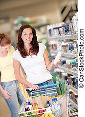nakupování, řada, -, opálit se vlas, manželka, s, kára