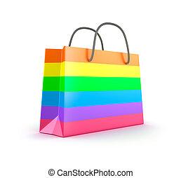 nakupování, bag., osamocený, barvitý