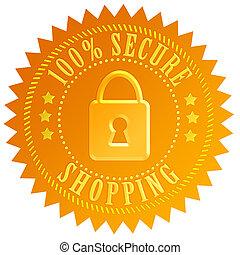 nakupování, bezpečný, ikona
