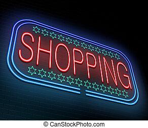 nakupování, concept.