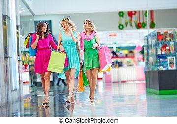 nakupování, do, mall