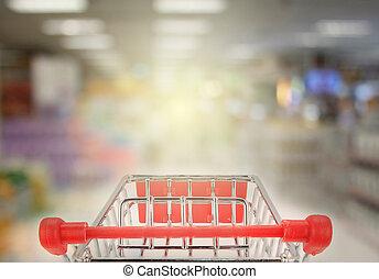 nakupování, do, supermarket, s, prasknout, lehký
