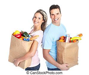 nakupování, dvojice, s, jeden, pytel k, strava