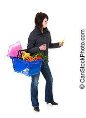 nakupování, manželka, do, ta, supermarket