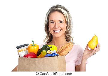 nakupování, manželka, s, jeden, pytel k, strava