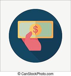 nakupování, peníze, hotovost, byt, ikona, s, dlouho, stín