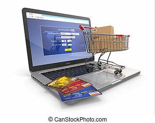nakupování, počítač na klín, kára, čest, e-commerce., karta