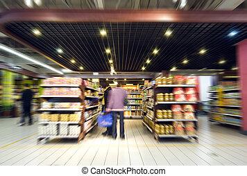 nakupování, v, ta, supermarket